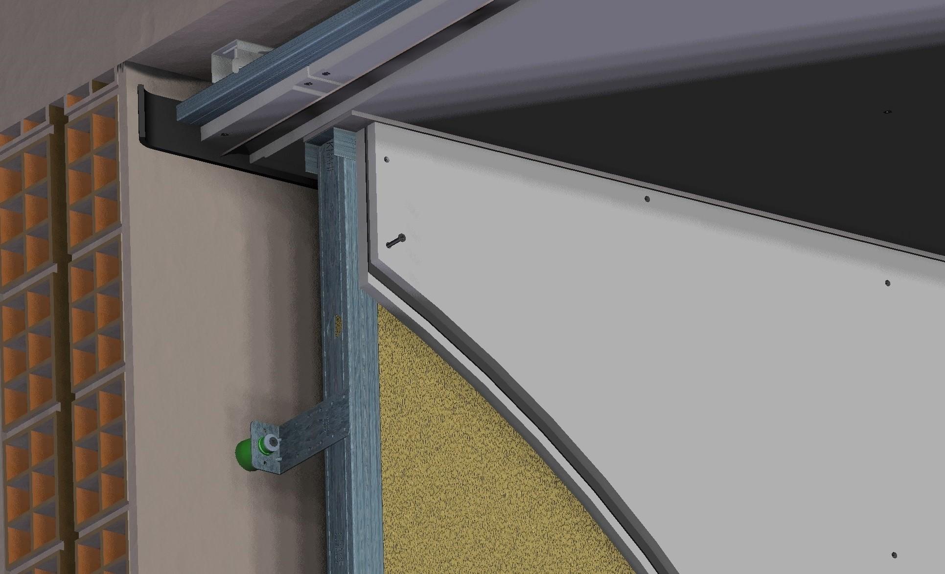 Sectiune izolare fonica perete si tavan